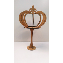 Coroa 3d M-com Pedestal-festas-artesanatos-mdf Cru