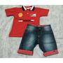 Conjunto Infantil Camiseta Polo E Bermuda Jeans Festa Camisa