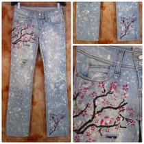 Calça Jeans Lycra Blue Steel 40 Customizada Hippie Style