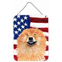 Bandera Americana Con Ee.uu. Perro Chino De Aluminio De Pare