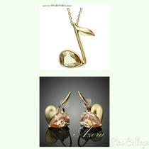 Joyas De Oro 18k Lam Collar/aretes C/swarovski Original 100%
