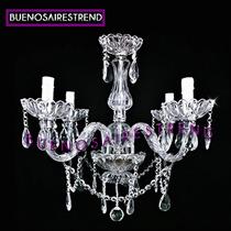 Araña Colgante Cuatro (4) Luces Vidrio Cristal Antigua.