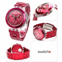 Relógio Swatchfull Blooded Raspberry Svck4050ag -12x Sem Jur