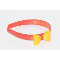 Diadema Plástico Moño Naranja Y Amarillo Dia108