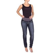 Calça Jeans Gestante Reta Puídos