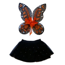 Disfraz De Mariposa Monarca Alas Y Tutu Para Niña