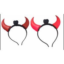 15 Cuernos Diadema Luz Led Disfraz Diablo Halloween Envio