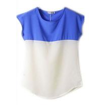 Moda Japonesa Blusa Chifon Blanco Ya Zul Bicolor Verano M/l