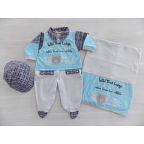 Saída De Maternidade Menino 3 Peças - Lançamento Linha Luxo