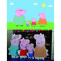 Kit Displays Família Peppa Pig 8 Peças + Painel 2,00x1,40mt