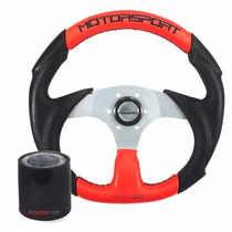 Volante Fusca 84 85 86 87 88 89 90 Motorsport Vermelho/preto
