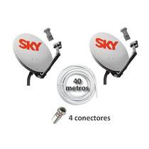 Kit 2 Antenas Ku + 2 Lnb Simples + 40m Cabo + 4 Conectores