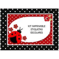 Kit Imprimible Etiquetas Escolares Coquito Mariquita Nuevo