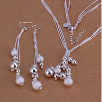 Collar Y Aretes De Plata 925 Con Esferas Colgantes