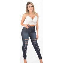 Calça Hot Pants Cintura Alta Rasgadinha Destroyed