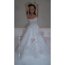 Vestido Antiguo Para Barbie Tejido A Mano (gancho)