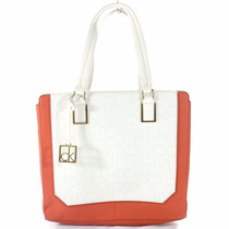 Bolsa Calvin Klein Original Eliza Tote - White And Orange