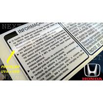Honda Etiqueta Motor Honda New Civic Fit City Crv Capo Paral