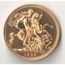 Inglaterra 1 Libra 1985 Proff No Estojo 7,98 Gr Ouro 916
