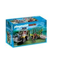 Juguete Vehiculo Con Remolque Playmobil-dinosaurio Gris
