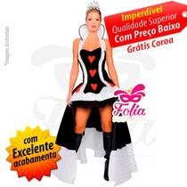 Fantasia Rainha De Copas - Grátis Coroa - Todos Tamanhos