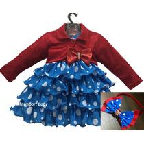 Vestido Festa Luxo Azul Galinha Pintadinha Com Bolero