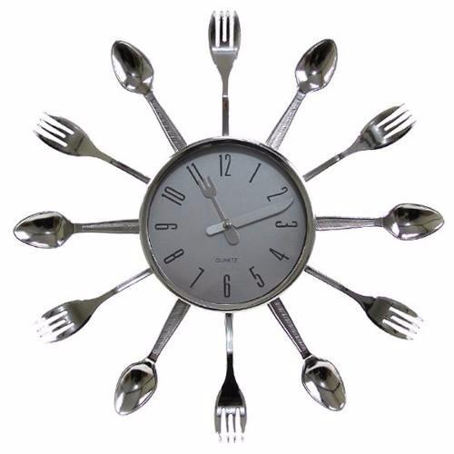 f8f2d03ebc8 Relógio De Parede Cromado Talheres De Cozinha Grande - R  35