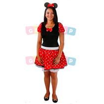 Vestido Da Minnie Adulto C/ Shortinho Cinto E Tiara Fantasia