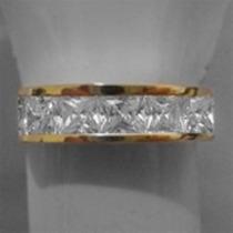 Anel De Ouro 18k E Prata Aparador Meia Aliança Com Pedra