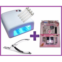 Kit Unhas Gel Lidan Top Coat + Cabine Estufa 36w + Alicate