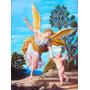 Quadro Anjo Da Guarda 40x50cm Pintura Óleo Sobre Tela