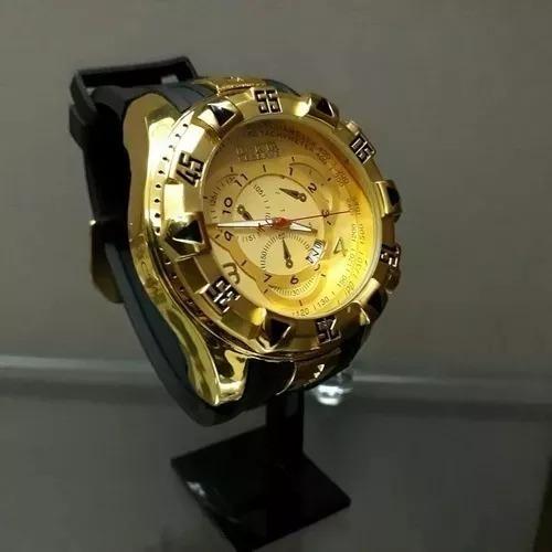 717088c4f2e Relógio Masculino Dourado Grande Pesado Barato Top - R  89