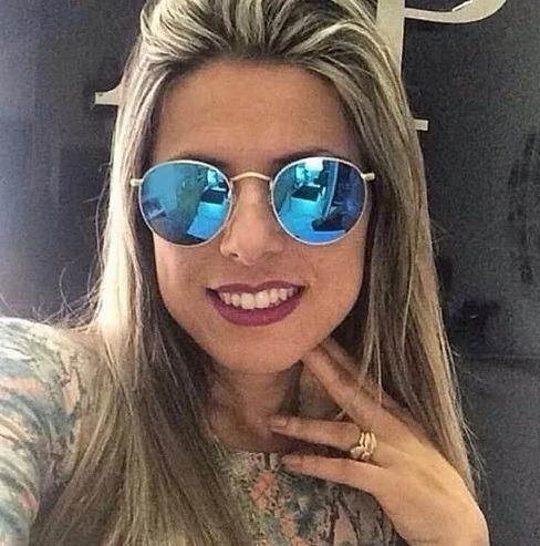 5a6f1c4eca8a4 Óculos Feminino De Praia Sol Proteção Uv Redondo Espelhado - R  39 ...