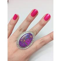 Anillo De Plata 925 Con Piedra Natural Violeta Grande