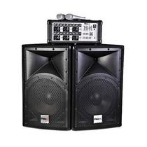 Combo Consola+potencia+2 Microfono+bluetooth+ 300 Rms+bafles