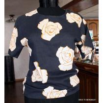 Polera,blusa Francia Lino Rosas Ts