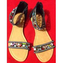Sandalia Casual Negra Tribal Elegante Hippie Vintage Fiesta