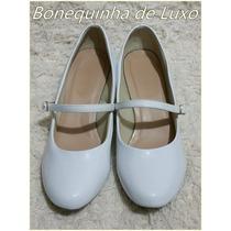Sapato Boneca Branco Verniz Enfermagem, Médica Frete Gratis
