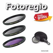 Kit De Filtros De 55mm + Estuche Para Sony A300 A330 A500