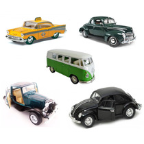 Kit 5 Miniaturas Ferro 1:32 Fusca Golf Pick Kombi Ford Ki02