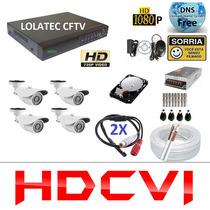 Kit 4 Cameras Hdcvi Hdtvi 720p Hd 1mp C/ Dvr 8 Canais Hdcvi