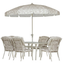 Conjunto Bali Mesa+guarda Sol+6 Cadeiras Mor