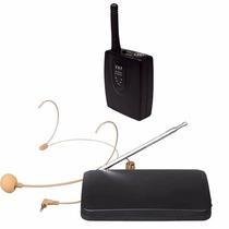 Microfone Vhf Sem Fio Auricular De Cabeça Headset Cor Pele