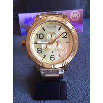 Relogio Nixon 51-30 A083 502 Chrono All Gold 100% Original
