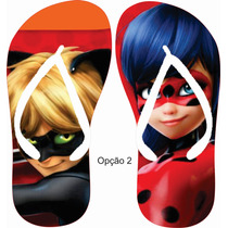 Kit 10 Chinelos Lembrancinha Miraculous Ladybug Cat Noir