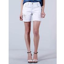 Shorts Jeans Boyfriend Feminino Equus - Branco