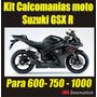 Kit Calcomanias Para Moto Suzuki Gsx-r 600- 750 Y 1000