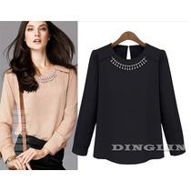Blusa Elegante Negra Con Collar De Cristales Talla M Elle851