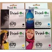 Cartucho Printon Compatible Hp 670 Combo 4 Colores