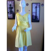 Exclusivo Vestido Fiesta Coctel Amarillo Pretina Satin 38 S